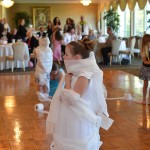 GIrl wrapped in toilet paper at a Communion in NJ